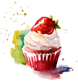 Hand painted watercolor strawberry muffin vector image vector image