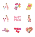 Happy mothers day icons set cartoon style vector image vector image