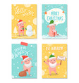 hello winter merry christmas greeting cards set vector image vector image