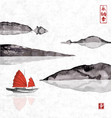 junk boat with sails and mountains in water vector image