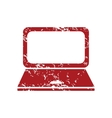 Laptop red grunge icon vector image