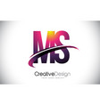 ms m s purple letter logo with swoosh design vector image vector image