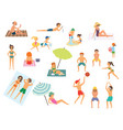 people on the beach isolated vector image