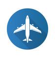 plane flat design long shadow icon vector image