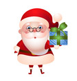 santa claus with gift box in hand vector image vector image