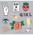 set of beautiful fashion trendy patches for girl vector image