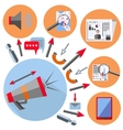 Set office element gramophone gadget arrow vector image