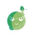 silhouette kawaii nice thinking lemon fruit vector image vector image