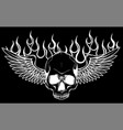skull with wings in black vector image vector image
