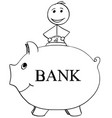 smiling man inserting coin in to piggy bank vector image vector image