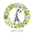 Spring in ParisGreen Leaves wreath Eiffel tower vector image vector image