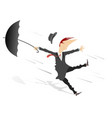strong wind rain and man with umbrella vector image vector image