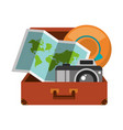 suitcase with folded map camera and hat inside vector image vector image