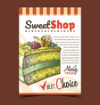 sweet shop creamy cake advertise poster vector image