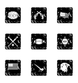 USA icons set grunge style vector image vector image