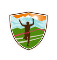 victorious marathon runner shield vector image vector image