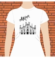 White Shirt with Milan Text and a Church Design vector image