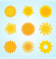 yellow sun icon collection in flat style abstract vector image