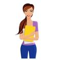 Student girl holding folder vector image