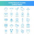 25 green and blue futuro christmas icon pack vector image