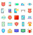 abduction of data icons set cartoon style vector image vector image