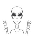 alien shows peace sign vector image