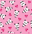 baby panda bears and hearts seamless pattern vector image vector image