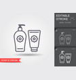 baby soap and cream line icon with editable vector image vector image