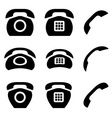 black old phone and receiver icons vector image vector image