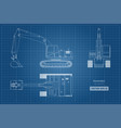blueprint of excavator on white background vector image vector image