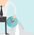 Cartoon businessman with clock concept vector image