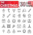 christmas line icon set new year symbols vector image vector image