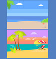 coastal view posters set tropical beach sea sand vector image vector image