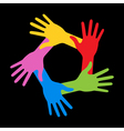 Colorful Five Hands Icon on black background vector image vector image