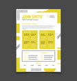 cv design professional resume with business vector image vector image
