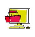desktop computer with basket shopping vector image vector image