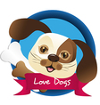 dog label with nuggets of bone vector image vector image