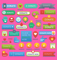 donate buttons help human hand money set in vector image vector image
