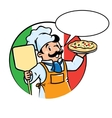 Emblem of funny cook or baker with pizza vector image vector image