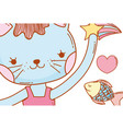 female cat animal with stars and fish vector image vector image