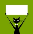 Funny cat with business card place for your text vector image vector image