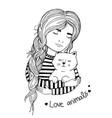 girl with long hair hugs cat vector image vector image
