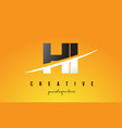 hi h i letter modern logo design with yellow vector image vector image