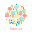 ice cream van and bar in flat style vector image vector image