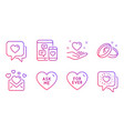 love mail heart and hold heart icons set vector image vector image