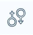 Male and female symbol sketch icon vector image vector image
