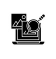 media analysis black icon sign on isolated vector image vector image