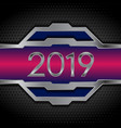 metallic tech 2019 new year design on perforated vector image vector image
