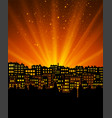 night city with sunset vector image vector image