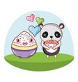 panda bear and food kawaii vector image